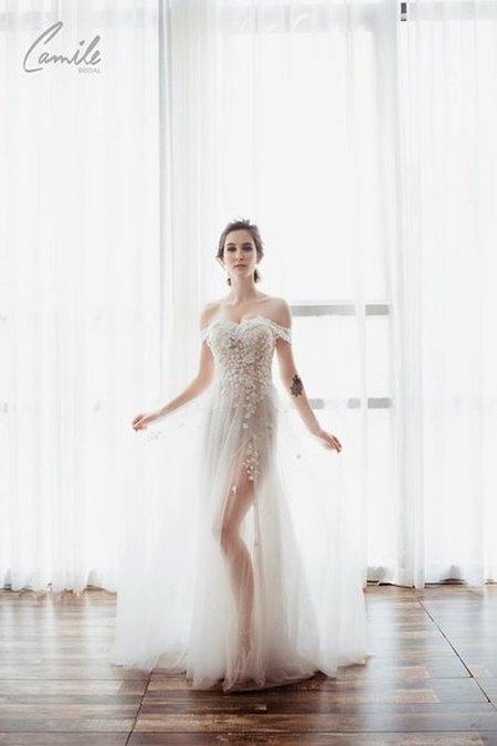 váy cưới hở vai Say đắm với 100 mẫu thiết kế váy cưới trễ vai đẹp nhất 2019