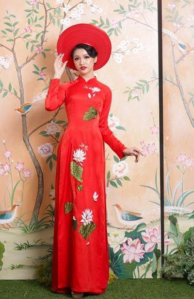 áo dài hoa sen  50+ mẫu áo dài hoa sen cưới duyên dáng đẹp nhất cho cô dâu Việt