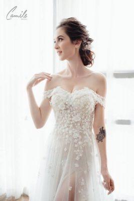 váy cưới chữ A2 Hóa nàng tiên đến từ thiên đường với mẫu váy cưới chữ A quyến rũ