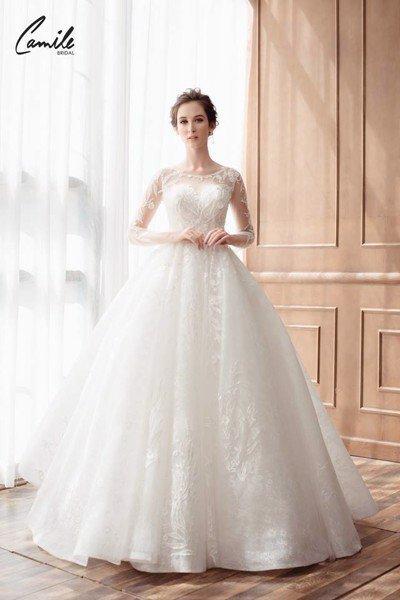 mẫu váy cưới tay dài 1 Tinh tế trong từng chi tiết với mẫu váy cưới tay dài Cinderella Luxury của Camile Bridal
