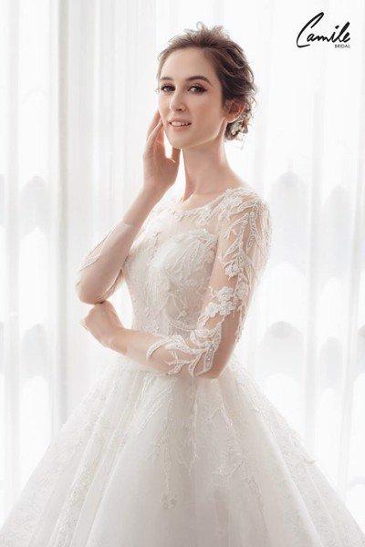 mẫu váy cưới tay dài 6 Tinh tế trong từng chi tiết với mẫu váy cưới tay dài Cinderella Luxury của Camile Bridal