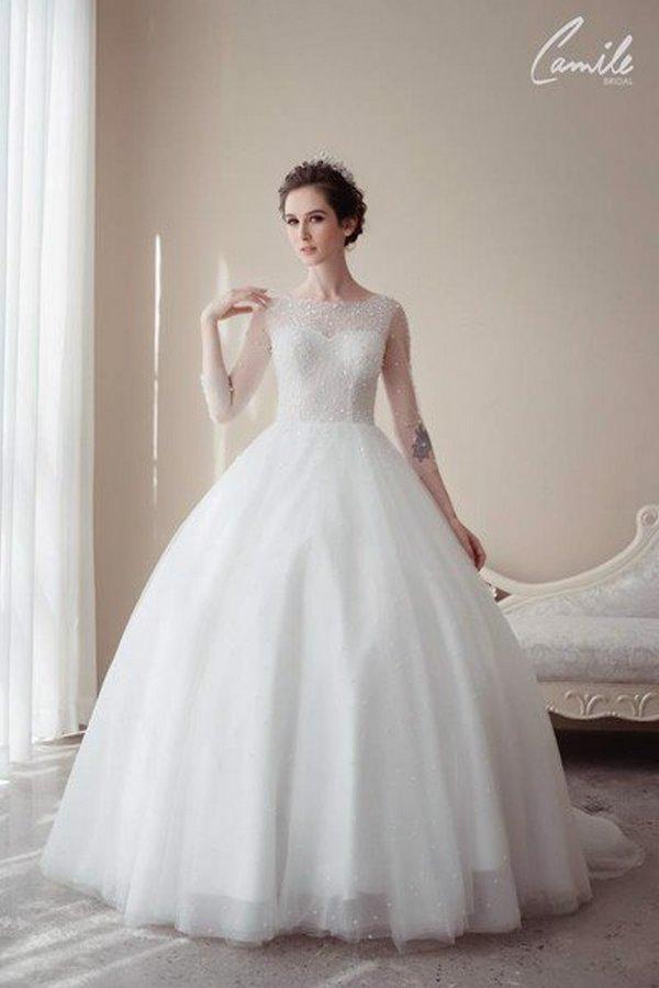 váy cưới cao cấp 1 Sang trọng và đẳng cấp với mẫu thiết kế áo cưới Cinderella's Pearl Wedding Dress