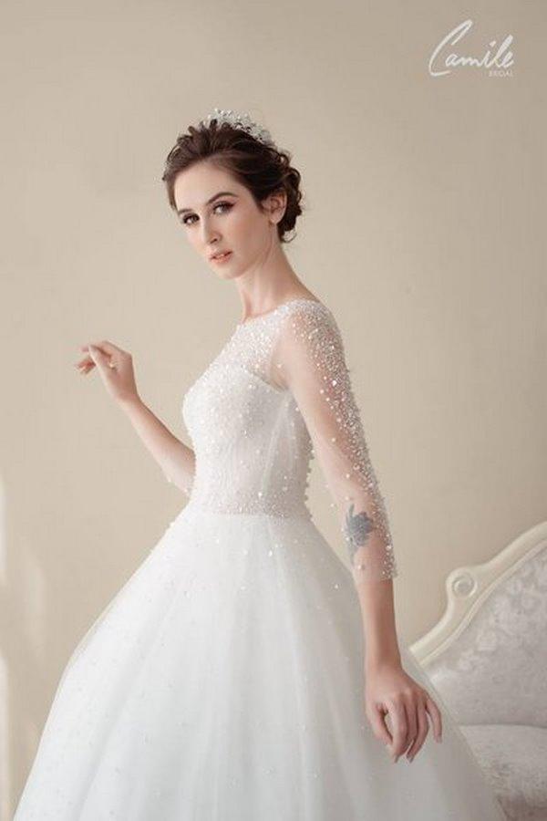 váy cưới cao cấp 3 Sang trọng và đẳng cấp với mẫu thiết kế áo cưới Cinderella's Pearl Wedding Dress