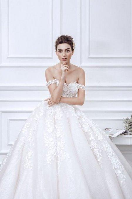 váy cưới vai ngang 2 Mê mẩn BST váy cưới vai ngang giúp cô dâu che khuyết điểm bắp tay to