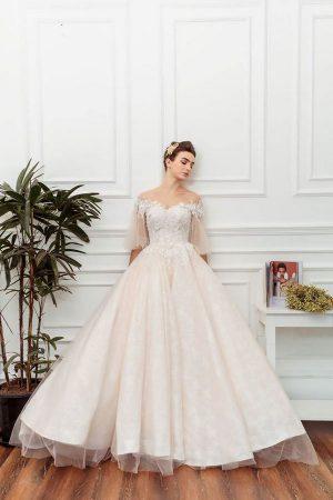váy cưới màu hồng phấn 5 Chiêm ngưỡng 15 mẫu váy cưới màu hồng phấn pastel ngọt ngào nữ tính đẹp nhất 2020