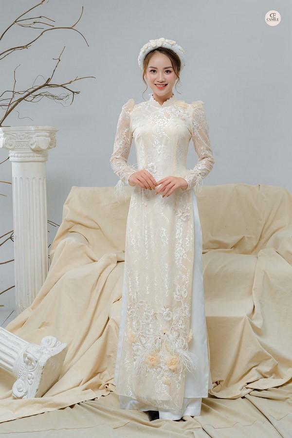 Áo dài thêu tay 15 mẫu áo dài thêu tay cao cấp đẹp nhất dành cho các cô dâu năm 2020