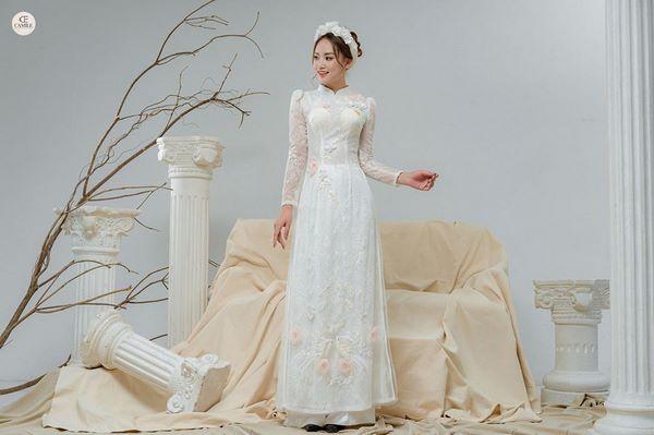 áo dài thêu tay đẹp 2 Bảng giá may đo thuê váy cưới Hà Nội cao cấp của Camile Bridal